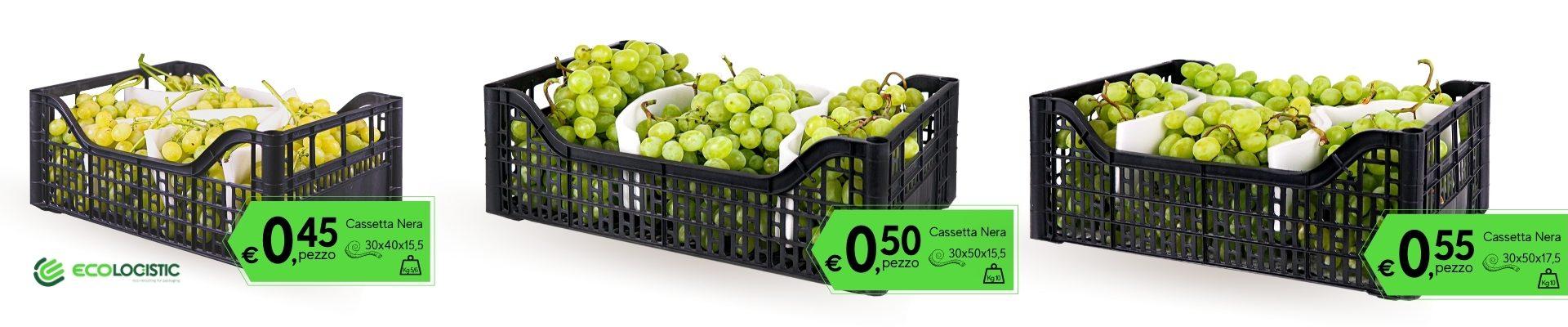 cassette nere per uva e ortaggi in pls riciclata